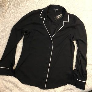 Express sheer black shirt w/white trim
